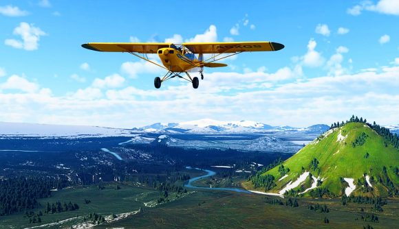 A plane flying over the Nordics in Microsoft Flight Simulator