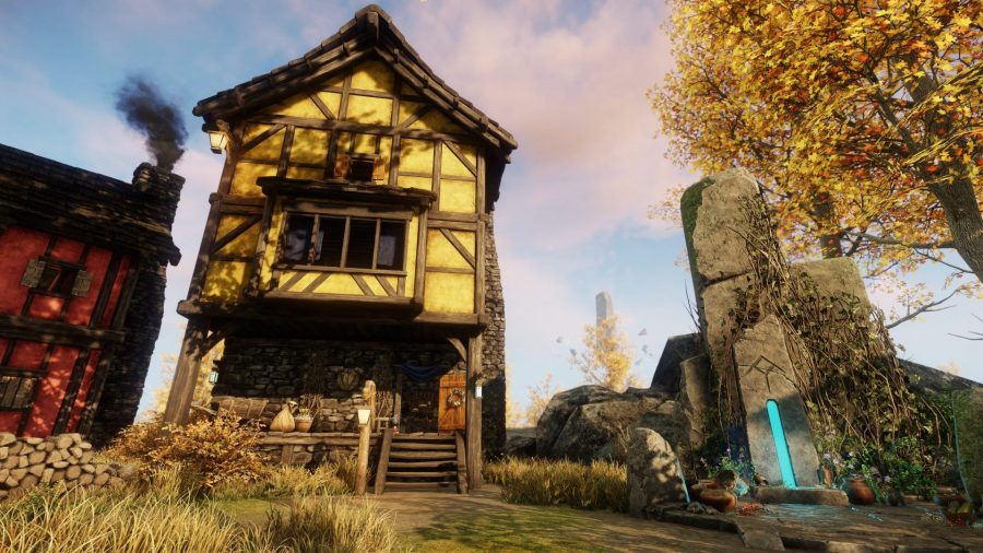 Exterior of a player's house in the New World