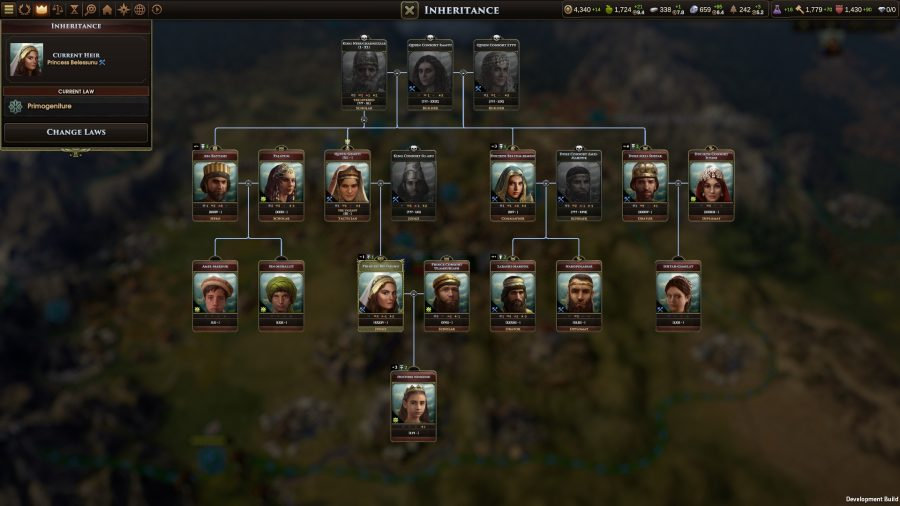 A look at a full family tree in 4x game old world
