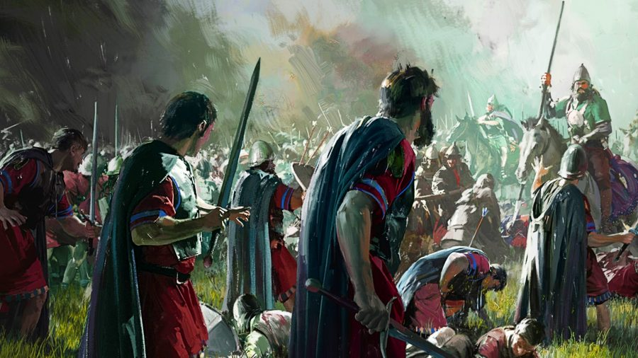 Romans look at their foes in battle in Old World