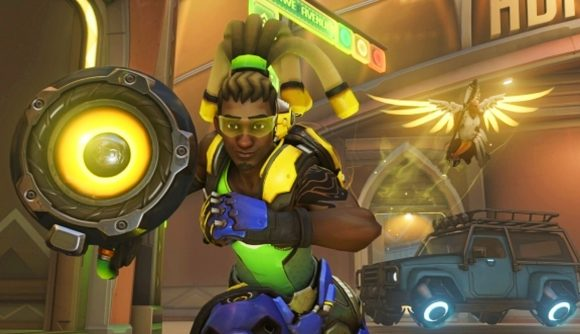 Lucio charging into the fight in Overwatch with Mercy