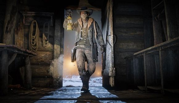 A cowboy walks into a shed in Red Dead Online