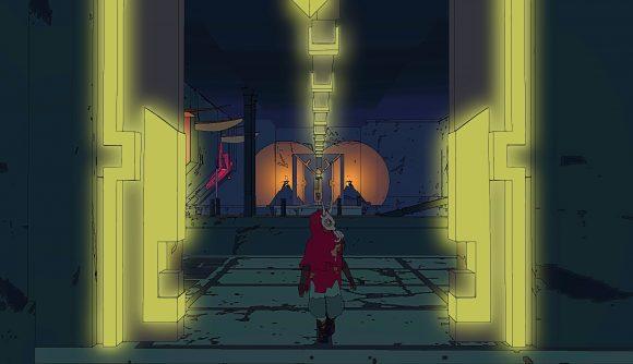 Sable wandering through a temple