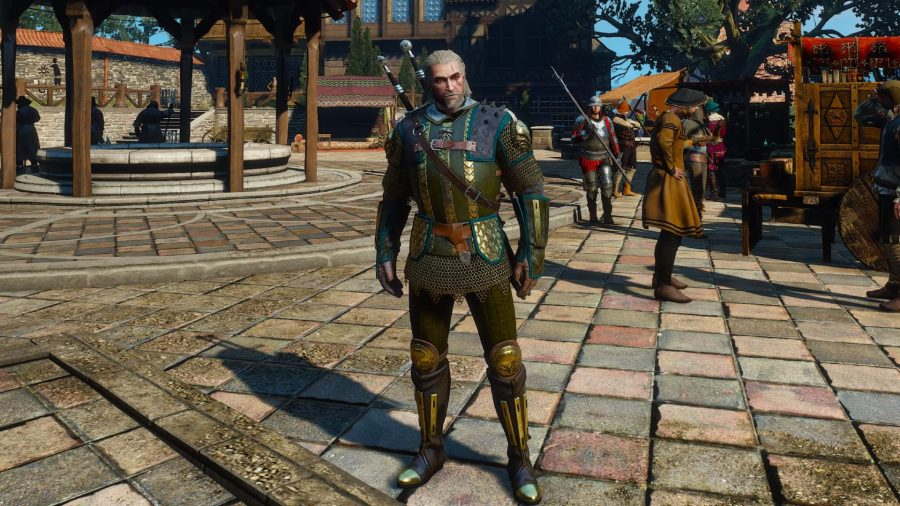 Geralt wears decorative armor in The Witcher 3