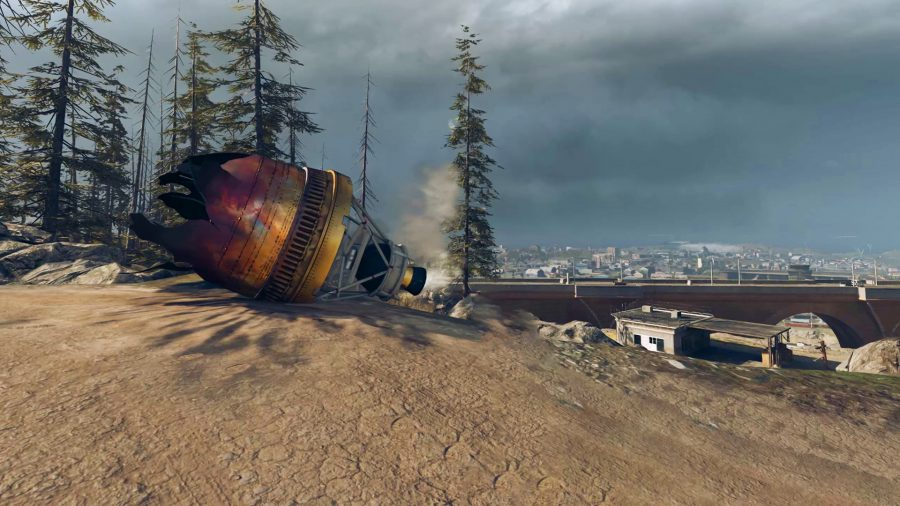 A crashed satellite in Warzone