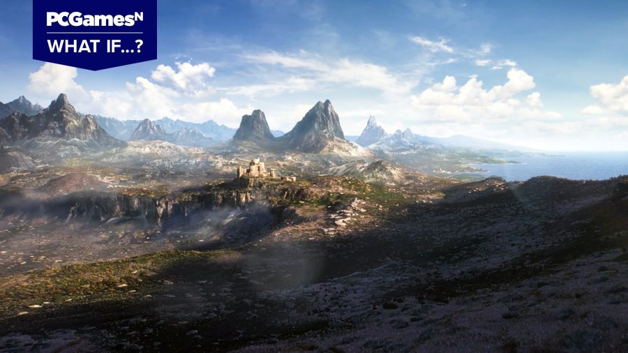 The opening scene from the Elder Scrolls 6 trailer, showing a rocky, coastal plain with a castle in the distance