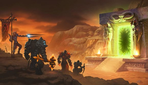 Several WoW Classic characters look to the Dark Portal