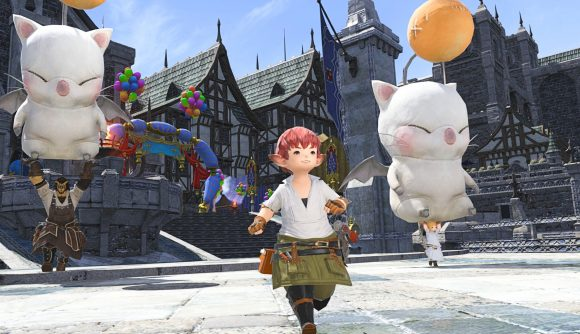 A FFXIV player running around Eorzea with two Moogle floats