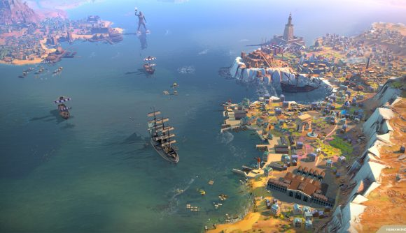 Some ships and a coastal city in 4x game humankind