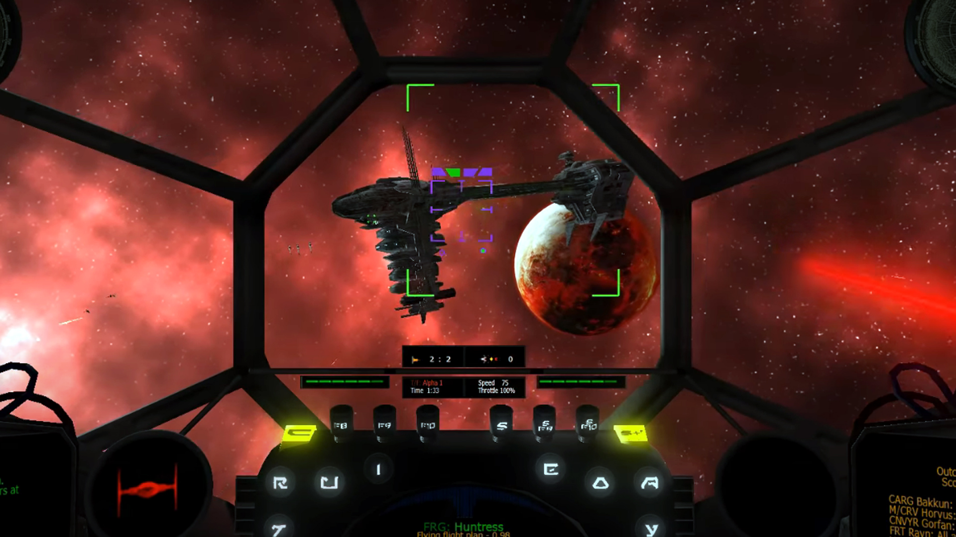 1994's TIE Fighter has been modded into 1999's X-Wing Alliance, spectacularly