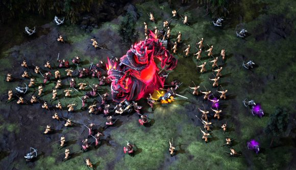 soldiers surround a big monster in survival rts game age of darkness