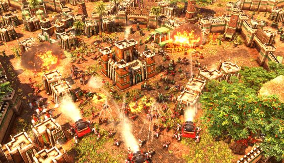 Siege artillery attack an african town in Age of Empires 3 definitive edition