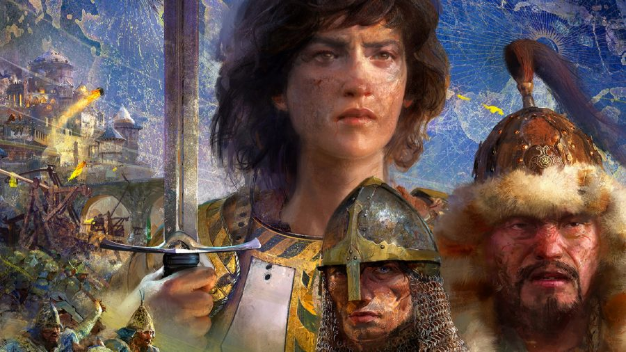 Key artwork from Age of Empires 4, showing various historical figures
