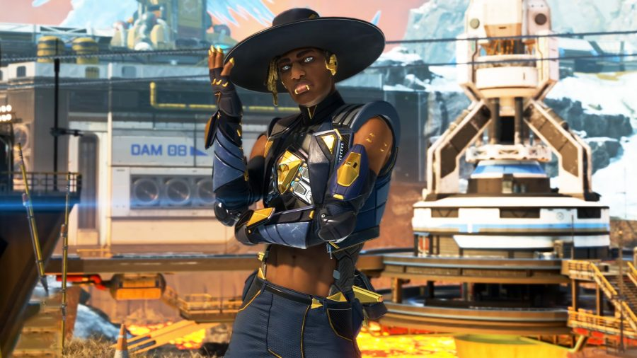Seer touching his blue hat after shooting an enemy in Apex Legends Season 10