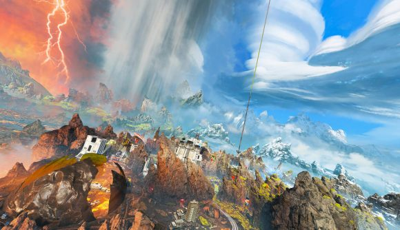 An image of Apex Legends' new World's Edge, complete with blue skies