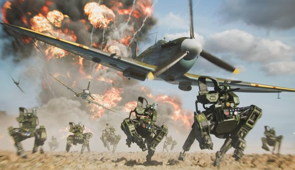 A WW2-era fighter plane flies over modern four-legged drones as an explosion erupts in the background in Battlefield Portal.