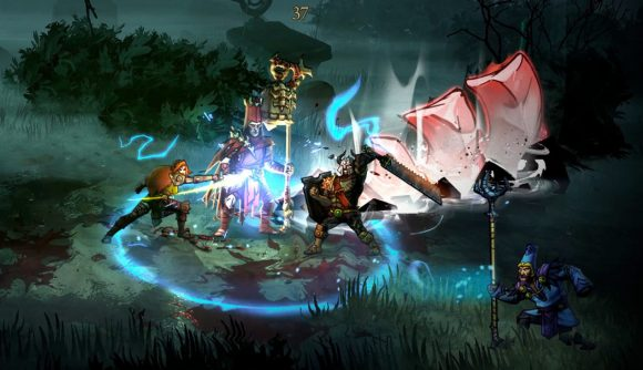 A warrior, mage, and assassin work together to fight evil cultists in Blightbound