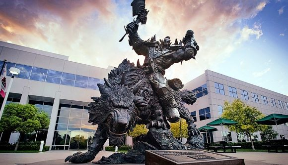 The orc statue outside of Blizzard's Irvine HQ