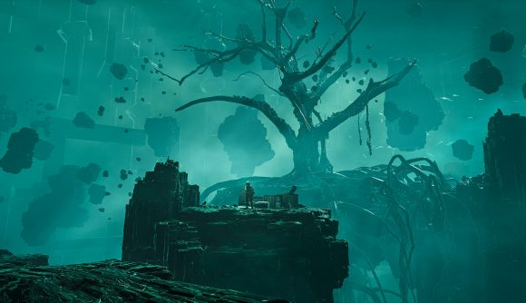 A tree is seen growing in a dark and eerie world full of floating islands made of some kind of dark crystalline element in Chernobylite.