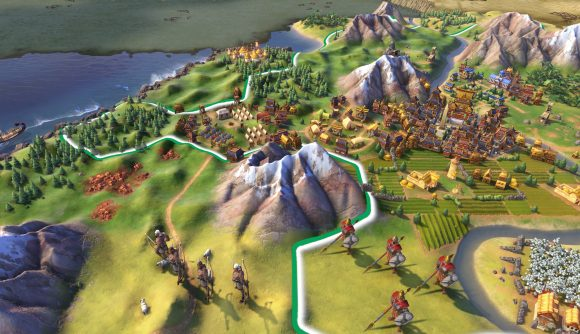 A close-up shot of Civilization 6 shows archer and phalanx units standing outside an ancient far east city.