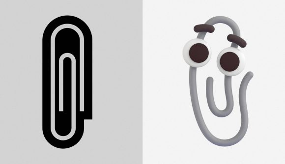 The old paperclip emoji and Clippy standing side-by-side
