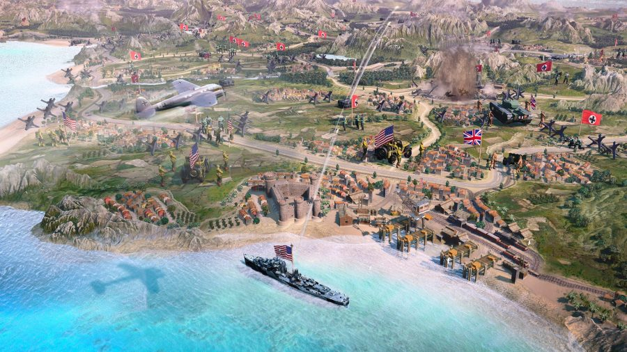 a stylised shot of the new campaign map in RTS Game company of heroes 3