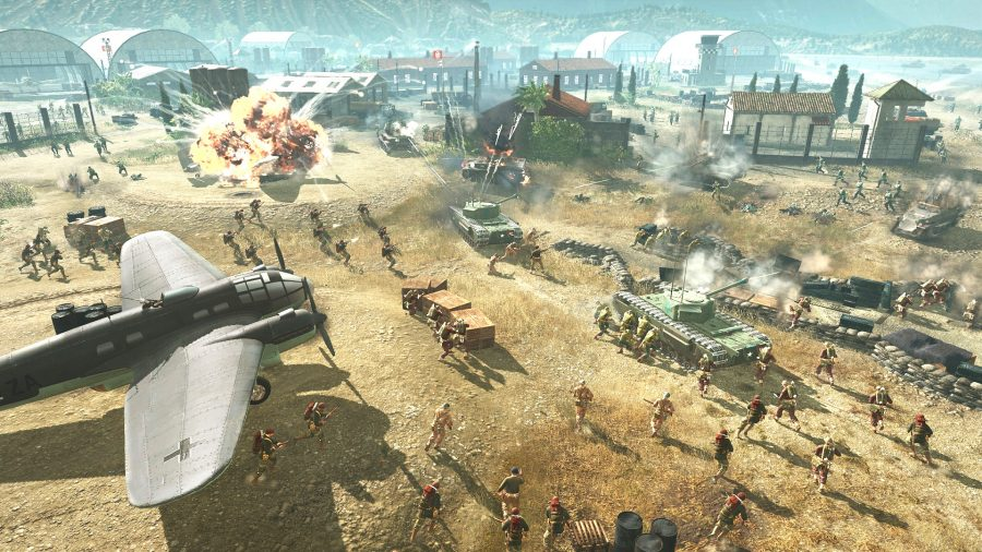 German and allied troops fight over an airfiled in RTS game company of heroes 3