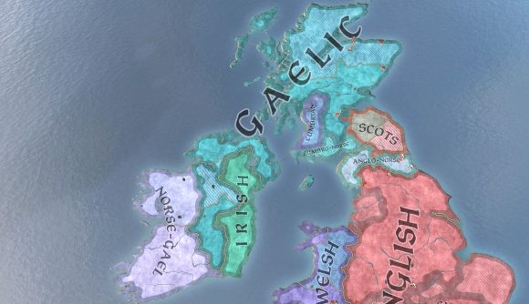 A map of the cultures present in the british isles in strategy game Crusader Kings 3
