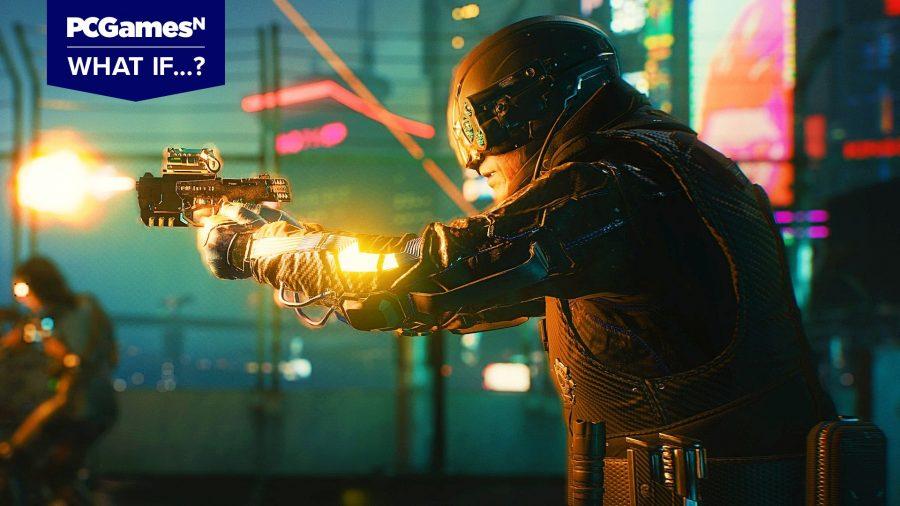 Max Tac security guard firing a pistol in Cyberpunk 2077