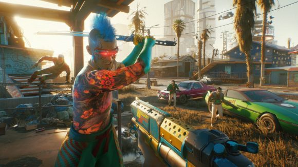 A Cyberpunk 2077 character attacks the player with a katana