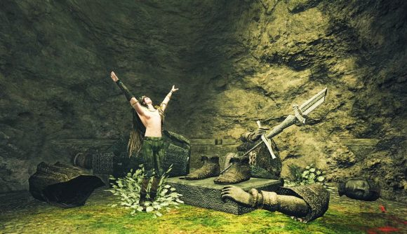 Dark Souls 2 content creator Ymfah takes a moment to praise the sun during his No Talk run