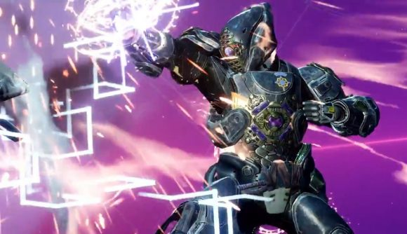 A Guardian in elaborate Titan armour stands against a bright violet backdrop in a Vex simulation in Destiny 2