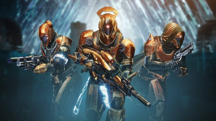 Three guardians kitted out with Destiny 2 timelost weapons and bronze armour.