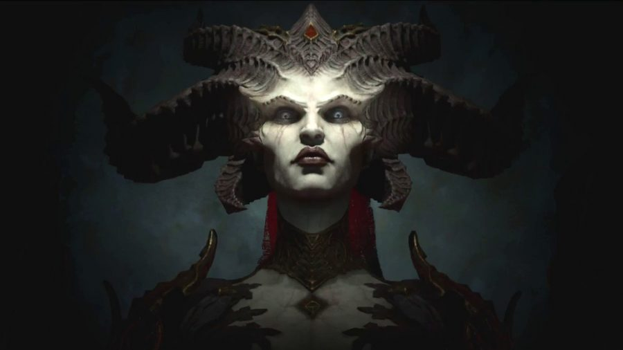 Lilith, the demon summoned in the Diablo 4 trailer, staring at you with fierce intensity when asked about the release date.