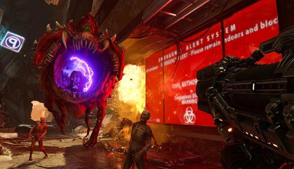Doom guy shoots one of Doom Eternal's monsters