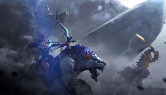 Dota 2 heroes head into battle with smoke all around