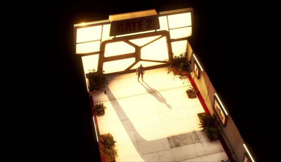 A small figure stands in front of a large, brightly lit glass door. A sign marked Gate 2 hangs above it.