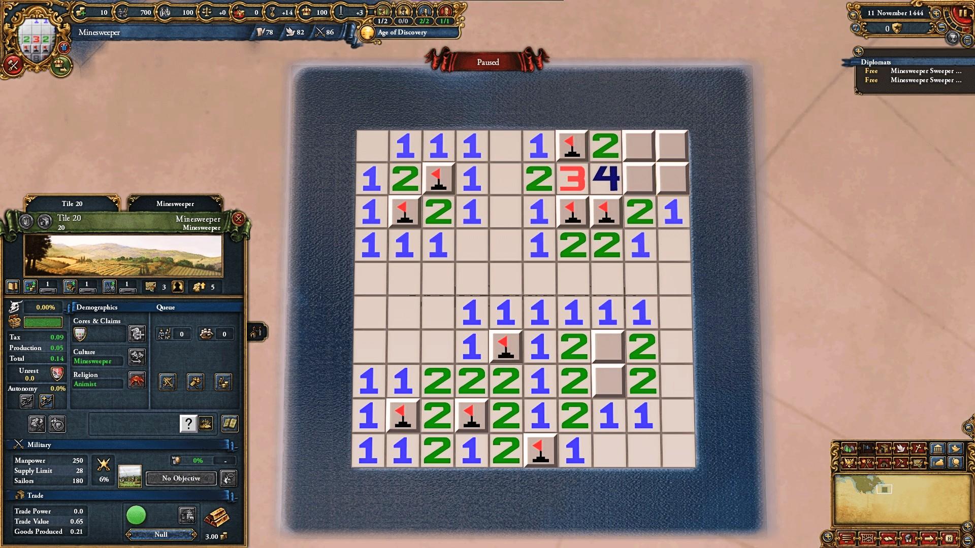 Europa Universalis IV now has Minesweeper