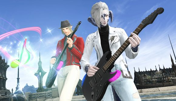 Two FF14 players playing the electric guitar