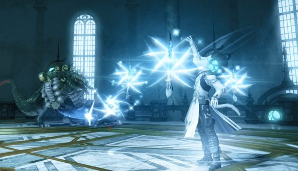 A Final Fantasy XIV Sage does battle with a monster