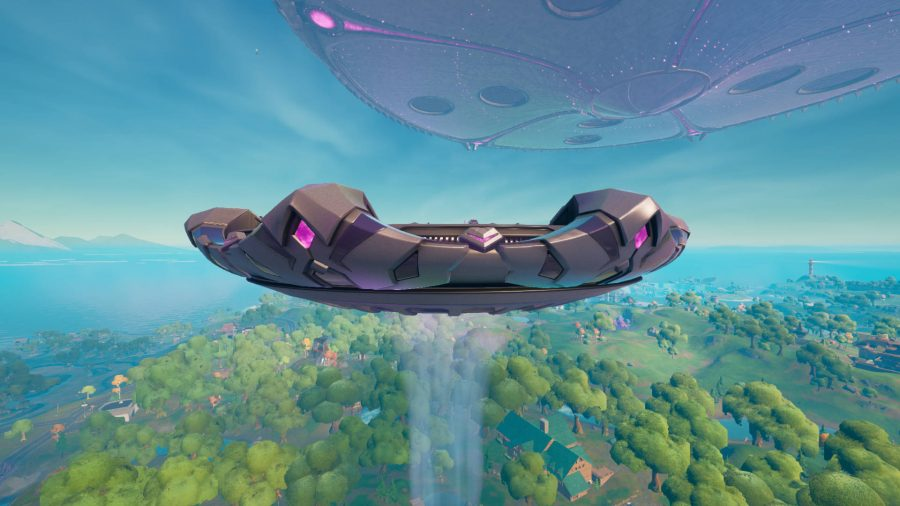 A Fortnite abductor using its traction beam to lure in any unsuspecting players. The mothership looms above.