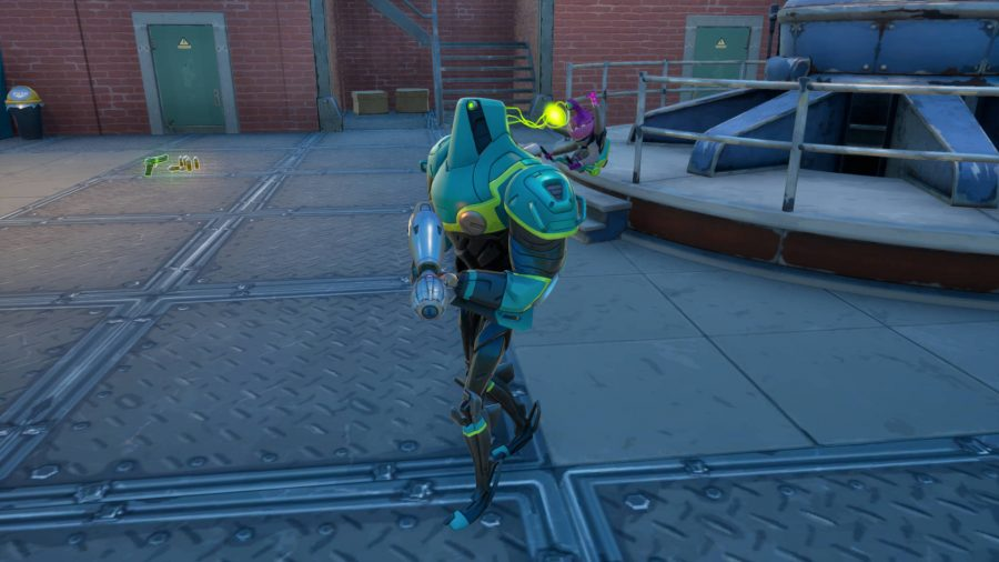 Zyg and Choppy in Fortnite. Zyg is the purple alien controlling Choppy, the green robot.