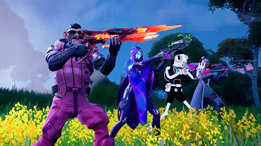 Fortnite NPCs holding their weapons up at an unseen foe to the right