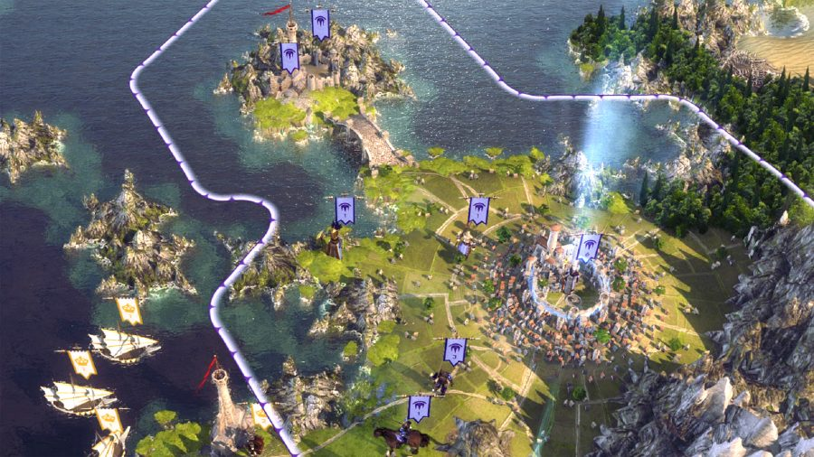 age of wonders 3 is a game like civilization, and this is a shot of a coastal city in the campaign map
