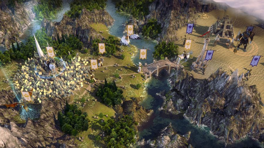 A city guard a bridge across a river 4x game age of wonders 3