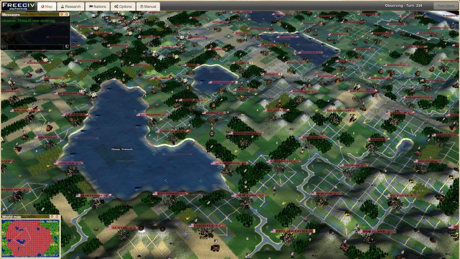 A sample shot of 4x game freeciv showing cities and rivers