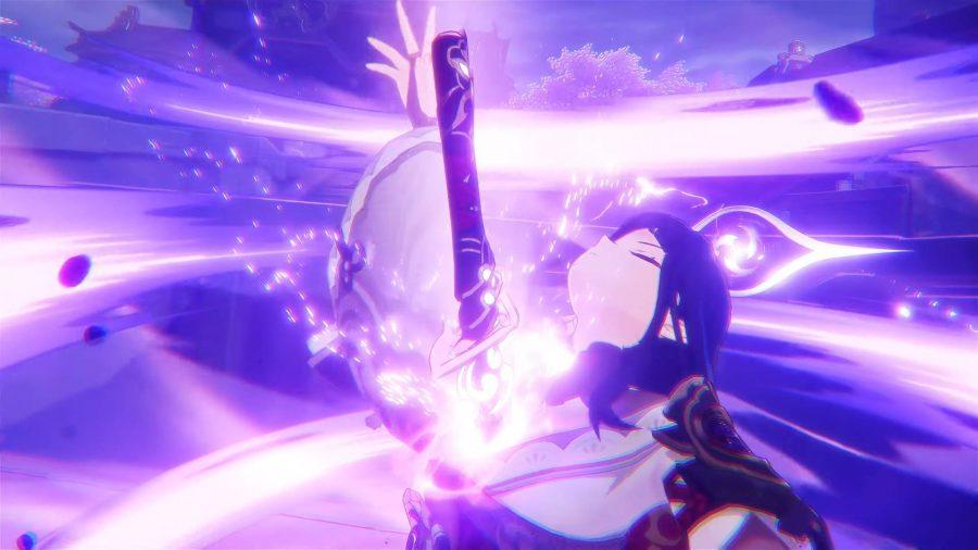 A Genshin Impact character producing a glowing sword