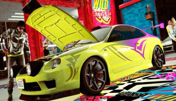 GTA Online Los Santos Tuners update yellow car in garage getting modded