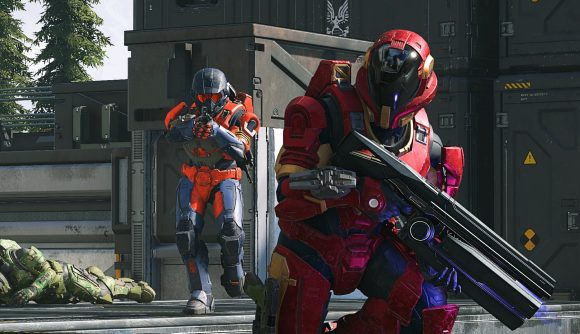 Two Halo Infinite players playing a multiplayer match