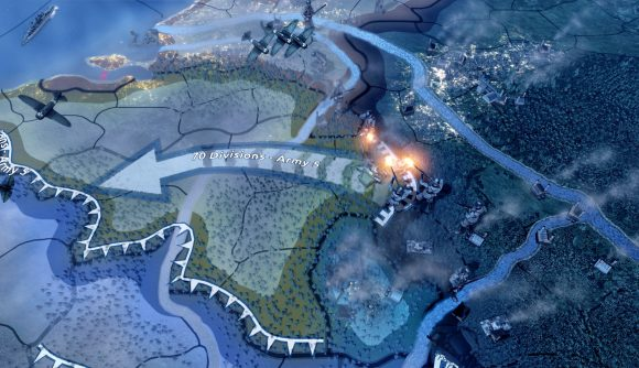 A close up shot of Normandy on the Hearts of Iron IV map.